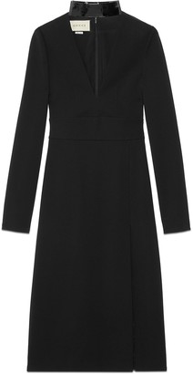 Gucci Viscose V-neck dress with detachable collar