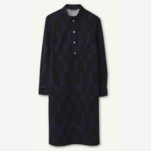 Marimekko Hoosi Ratsu Print Straight Cut Dress - 36 - Black/Blue