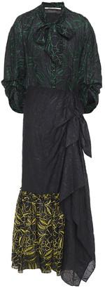Roland Mouret Open-back Embroidered Mousseline Midi Dress