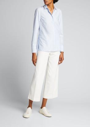 Akris Punto Pleated Back Striped Button-Down Poplin Shirt