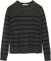 Autumn Cashmere Buttoned striped cashmere sweater