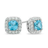 Zales 5.0mm Cushion-Cut Swiss Blue Topaz and Lab-Created White Sapphire Frame Stud Earrings in Sterling Silver