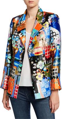 Berek Colorful Three-Button Mixed Media Blazer