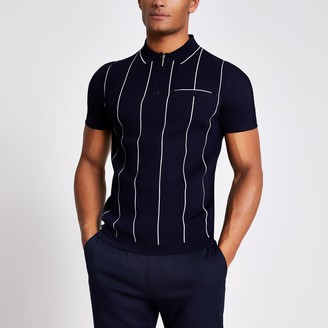 River Island Mens Navy stripe slim half zip knitted polo shirt