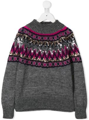 Alberta Ferretti Kids Sequin Knit Jumper