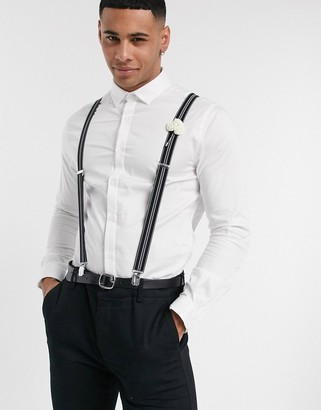 ASOS DESIGN Premium wedding skinny sateen shirt in white