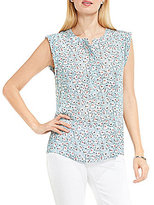 Vince Camuto TWO by Sleeveless Floral Sketches Henley Blouse