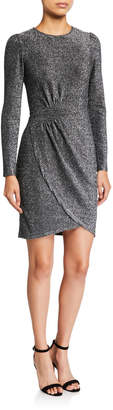 MICHAEL Michael Kors Metallic Long-Sleeve Wrapped Skirt Dress