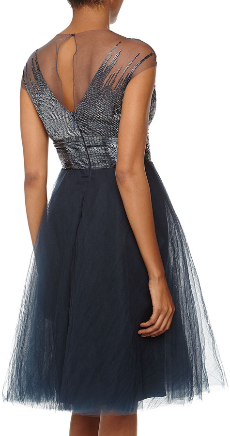Monique Lhuillier Beaded Tulle Fit-And-Flare Cocktail Dress, Blue/Gray