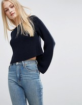 Asos Cropped Sweater In Rib with Wide Sleeve