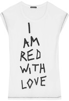 Ann Demeulemeester Printed Cotton-jersey T-shirt - White