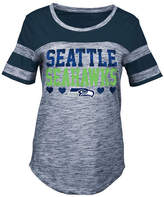 5th & Ocean Seattle Seahawks Space Dye Foil Heart T-Shirt, Girls (4-16)