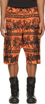 Kokon To Zai Orange & Black Jersey Greek Print Shorts