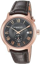 Raymond Weil Men's 'Maestro' Swiss Automatic Stainless Steel and Leather Casual Watch, Color:Brown (Model: 2238-PC5-00209)