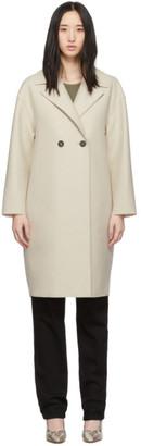 Harris Wharf London Off-White Pressed Wool Dropped Shoulder Coat