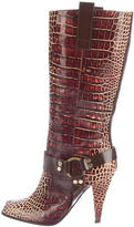 Casadei Embossed Mid-Calf Boots