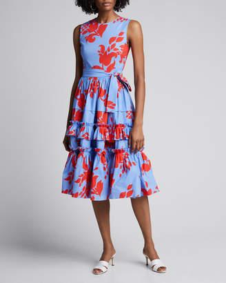 Carolina Herrera Floral-Print Sleeveless Tiered Ruffle Dress