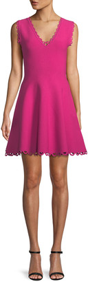 Milly Scalloped-Trim Fit-and-Flare Dress