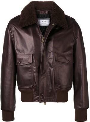 AMI Paris Shearling Collar Bomber Jacket