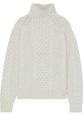 Vince Melange Cable-knit Wool-blend Turtleneck Sweater