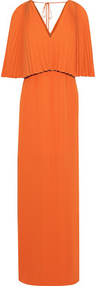 Halston Layered Pleated Crepe De Chine Maxi Dress