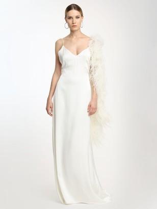 Magda Butrym Exclusive Silk Slip Dress W/feather Boa