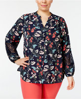 Charter Club Plus Size Floral-Print Lace-Inset Top, Created for Macy's