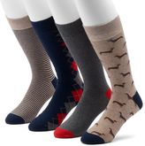 Croft & Barrow Men's 4-pack Dachshund & Patterned Crew Socks