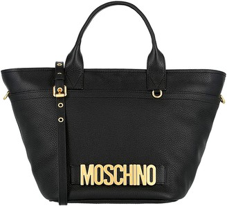 Moschino Logo Leather Crossbody Tote