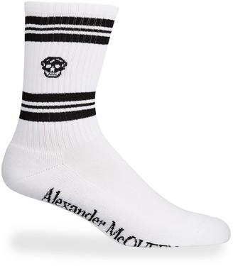 Alexander McQueen Men's Striped Skull Crew Socks