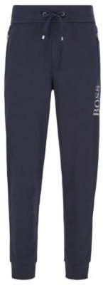 BOSS Cotton-blend loungewear trousers with metallic logo