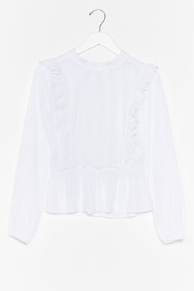 Nasty Gal Womens Out in the Open Broderie Anglaise Ruffle Blouse - White - S