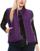 Daisy Eggplant Quilted Vest - Plus