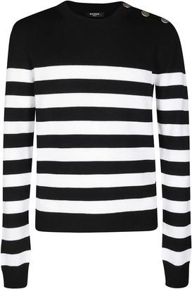Balmain Black And White Wool-cotton Blend Jumper