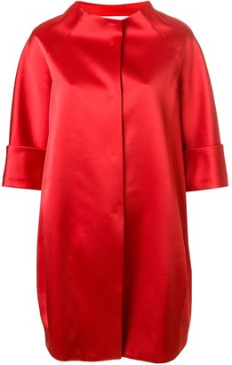 Gianluca Capannolo Funnel-Neck Satin Cocoon Coat