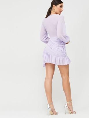 boohoo Pleated Ruched Mini Dress - Lilac