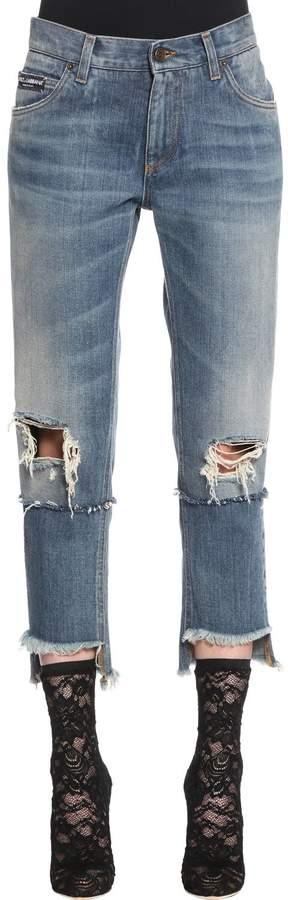 Dolce & Gabbana Destroyed Cotton Denim Cropped Jeans