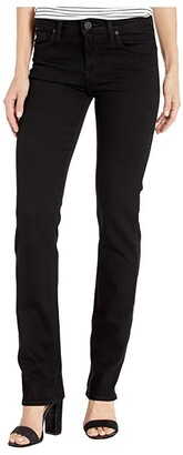 Hudson Nico Mid-Rise Straight in Black (Black) Women's Jeans