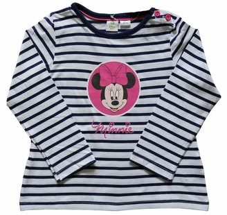 Disney Original Minnie Mouse T Shirt Top for Kid's Girl's Sizes 2-24 Months Full Sleeves White Navy Blue (2-6 Months)