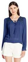 Blu Pepper Women's Long-Sleeve Crochet-Lined Top with Elastic Waistband