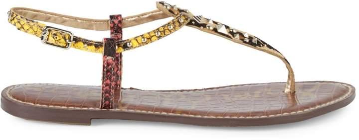 Sam Edelman Gigi Snake Embossed Leather & Calf Hair T-Strap Flat Sandals