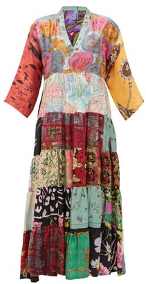 RIANNA + NINA Vintage Patchwork-print V-neck Silk Dress - Multi