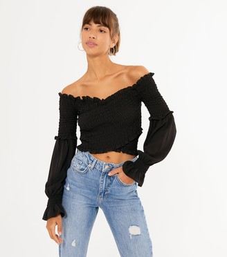 New Look Shirred Puff Sleeve Crossover Top