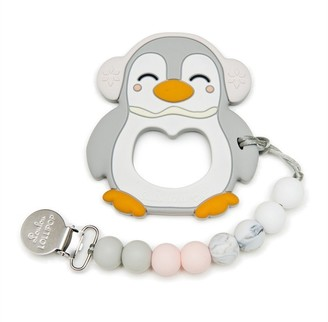 Loulou Lollipop Teether and Holder Penguin Grey Pink