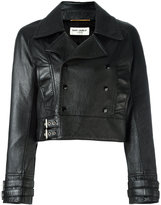 Saint Laurent cropped leather biker jacket - women - Cotton/Lamb Skin/Cupro/Metal (Other) - 38
