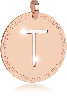 Rebecca Rose Gold-plated Bronze T Charm W/Rhodium-plated Necklace