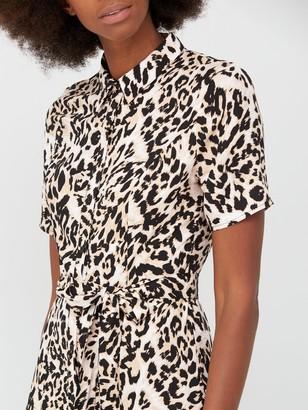 Very Printed Short Sleeve Shirt Dress - Animal Print