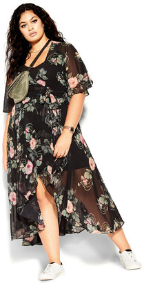 City Chic Vineyard Floral Maxi Dress - black