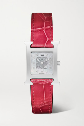 HERMÈS TIMEPIECES Heure H 21mm Small Stainless Steel, Alligator, Diamond And Mother-of-pearl Watch - Red
