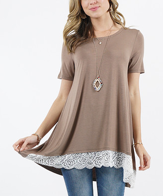 Lydiane Women's Tunics MOCHA - Mocha Crewneck Short-Sleeve Lace-Trim Hi-Low Tunic - Women